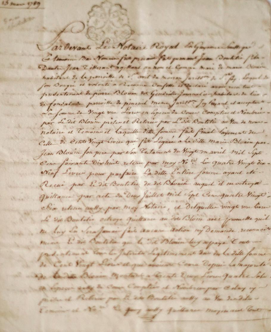 Musée du château Frontenac, ancien acte notarié